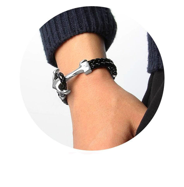 Genuine Black Leather Anchor Clasp Braided Stainless Steel Bracelets-Daanias.com