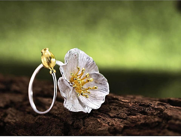 Handmade Poppies Flower 925 Sterling Silver Rings