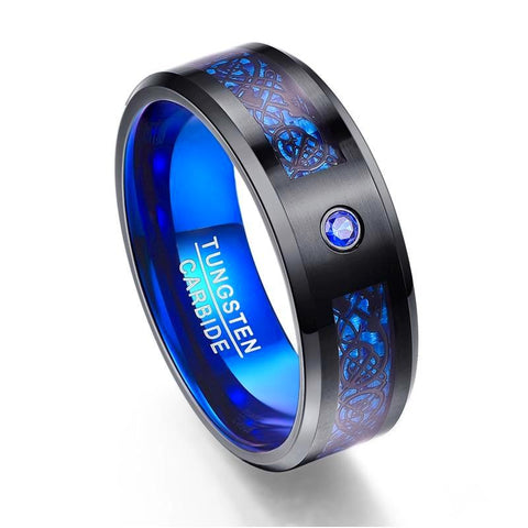 Blue Dragon Carbon Fiber Blue CZ Tungsten Carbide