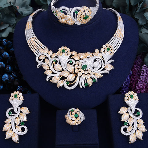 Luxurious Shinning Flower Leaf Cubic Zirconia Necklace Jewelry Set