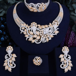 Opulent And Shinning Flower Leaf Bridal Necklace Jewelry Set