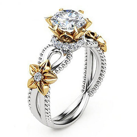 Beautiful Yellow Gem Rose Sunflower Hollow Design Flower Wedding Ring-