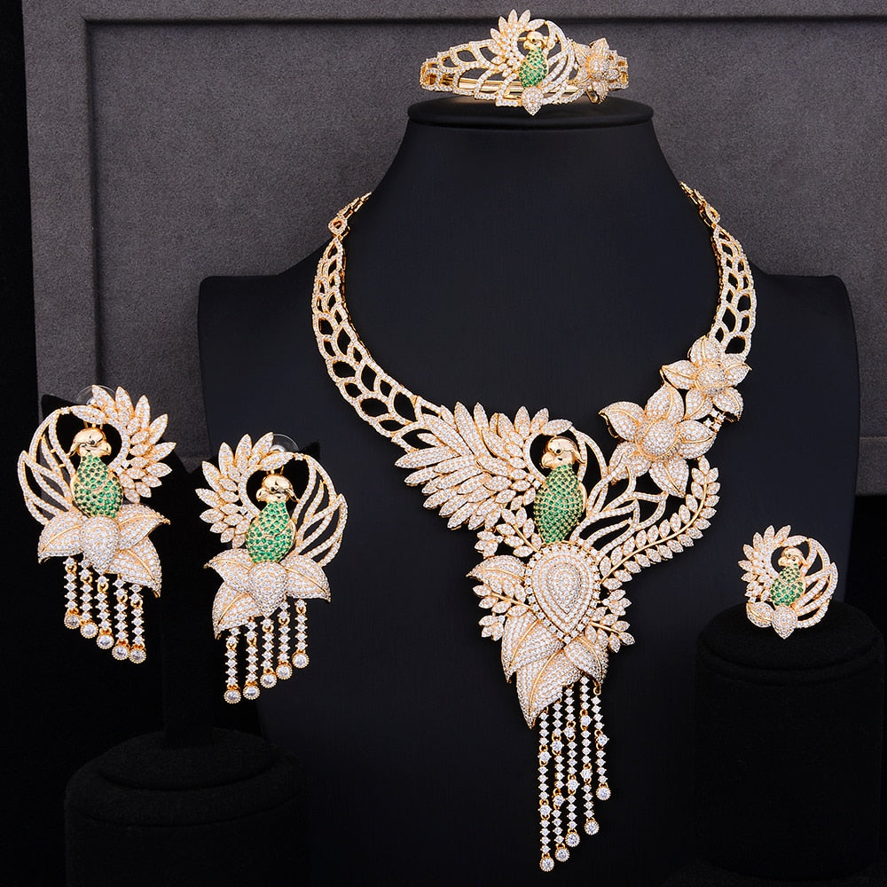 Luxurious and Elegant Parrot on Flower Jewelry Set For Women