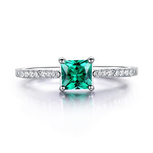 Emerald Stone Genuine Sterling Silver Ring - Green