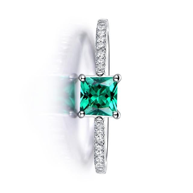 Emerald Stone Sterling Silver Ring - Green