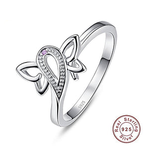 Butterfly Shaped Purple CZ Sterling Silver Rings-Women