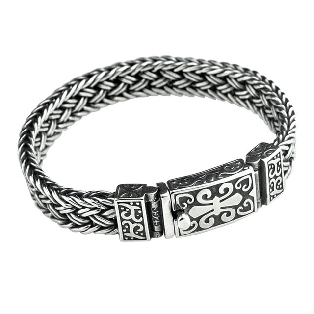 Retro Rock Wire Chain Thai Silver Bracelet