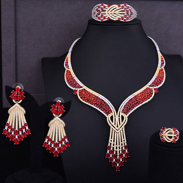 Splendid Butterfly Flower 4pcs Jewelry Set For Women