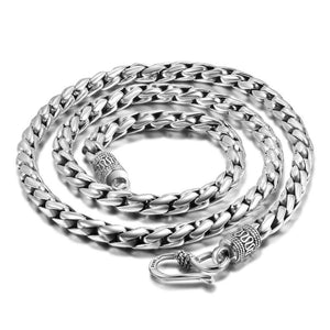 Retro Biker Vintage Long Sterling Silver Neck Chain-Daanias.com