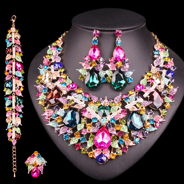 Glittery Necklace Earrings Crystal Jewelry Sets for Women - 6 Different Colors