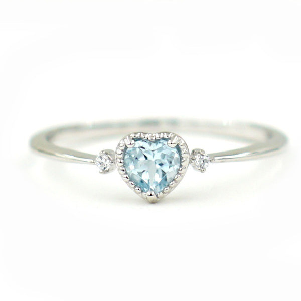 Lovely Romance Exquisite Blue Heart Shaped Ring-Daanias.com