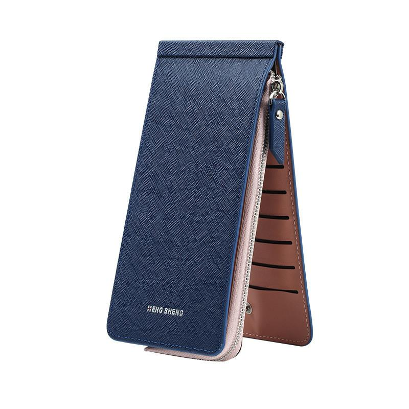 Women Men 26 Multi-slots Card Holder Ultrathin PU Leather Zipper ...