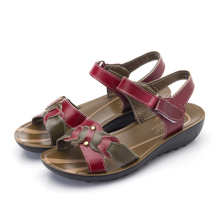 3f2080dd7e19 Large Size Leather Soft Sole Comfy Color Match Sandals – Inscofy