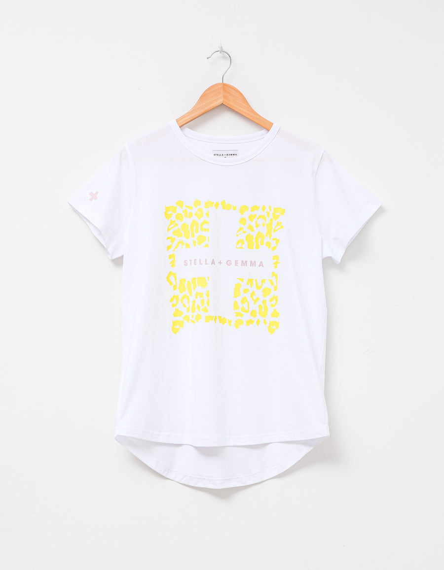 White T-Shirt with Citrus Leopard Square
