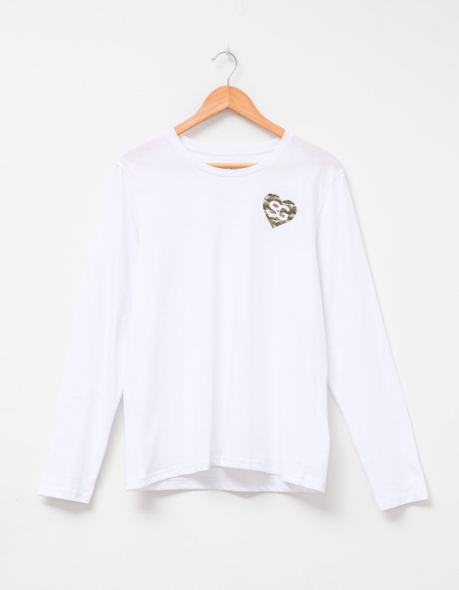 Basic White Long Sleeve T-Shirt with Camo S+G Heart