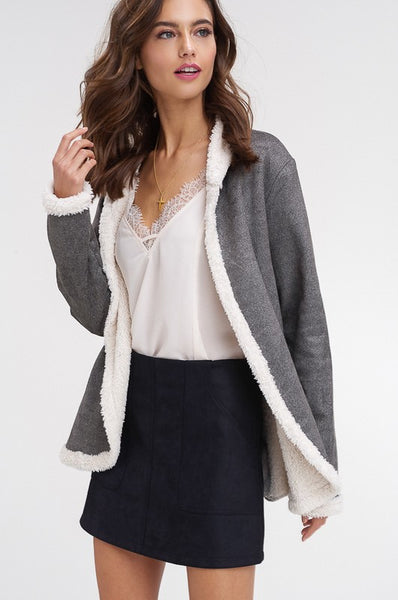 Whistler Faux Suede + Shearling Jacket - Grey - KORE CLOSET