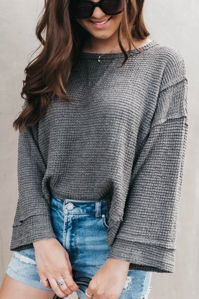 Taking Notes Waffle Knit Crop - Grey
