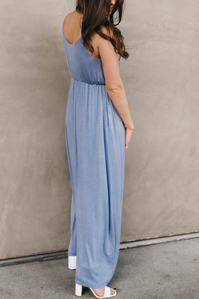 Dana High Slit Maxi Dress - Denim