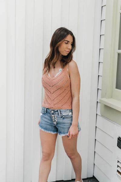 Adira Crochet Top - Peach
