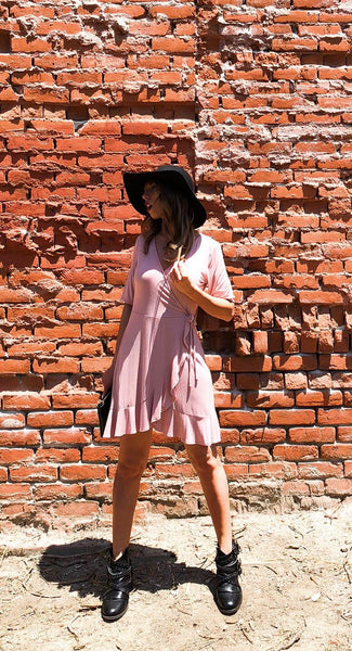 LAST ONE- Tickled Pink Wrap Dress - Blush - KORE CLOSET