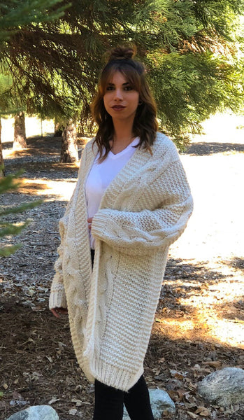 ~ Cable Knit Craze Cardigan - Ivory - KORE CLOSET