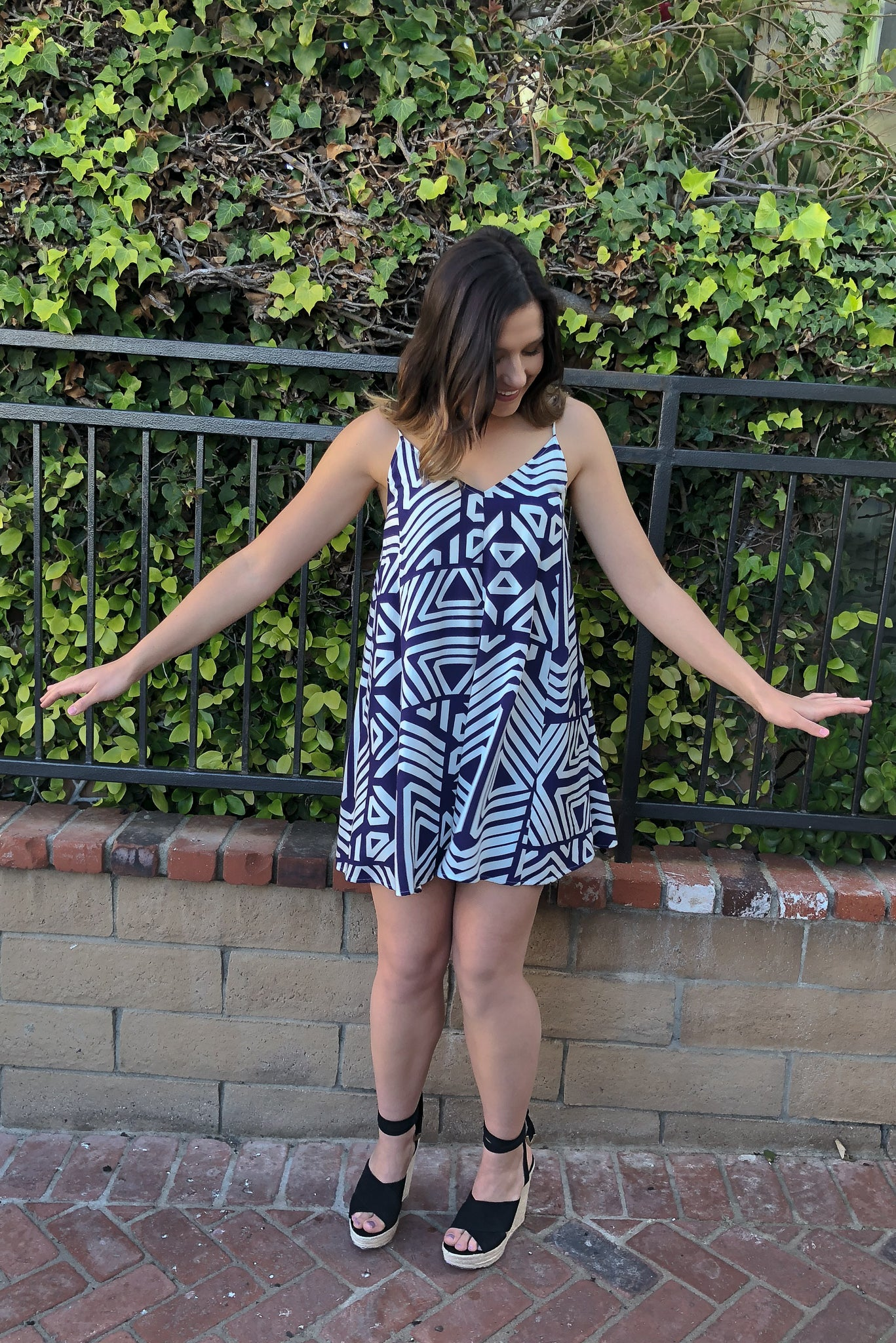 LAST ONE- Aztec Swing Dress - Navy - KORE CLOSET