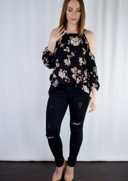 ~Vanessa Cold Shoulder Top - Black - KORE CLOSET