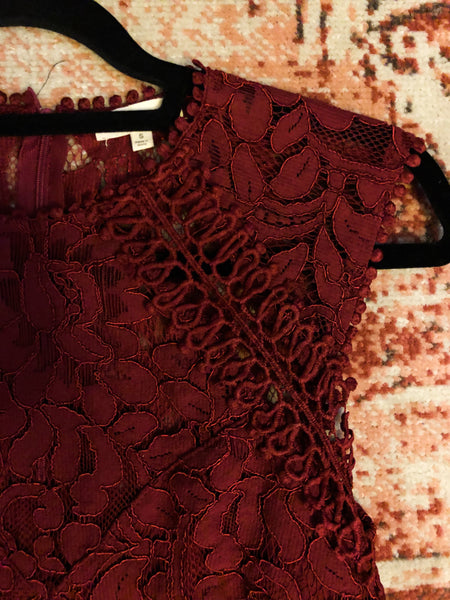 Fabu-Lace Dress - Burgundy - KORE CLOSET