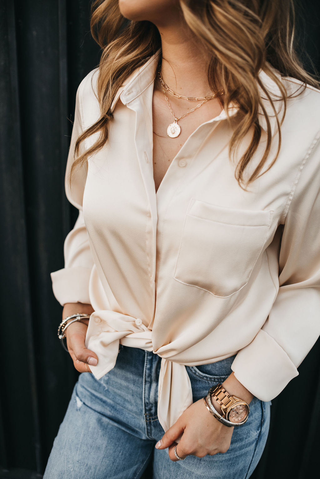 Soho Satin Blouse - Latte