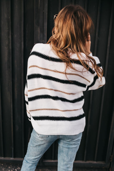 Blurred Lines Sweater - White