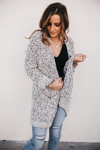 Fuzzy Feelings Cardigan - Bk/Wh
