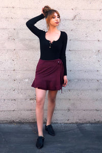 ~ Central Park Wrap Skirt- Burgundy - KORE CLOSET