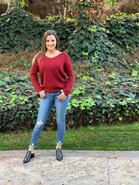 Savannah Twist Back Sweater - Red - KORE CLOSET