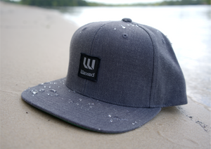 Waxed Yupoong Classic Dark Heather Grey Flat Bill Snapback