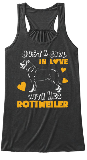 Funny Pet Tee Love With Her Rottweiler