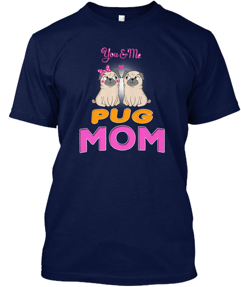 Funny Pug And Lettering Mom