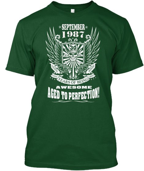 September 1987 - 30 Years Of Being AWESOME - Aged To Perfection - 30th Birthday Gift T-Shirt