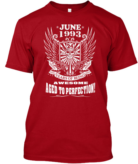 June 1993 - 24 Years Of Being Awesome Aged To Perection - 24th Birthday Gift T-Shirt