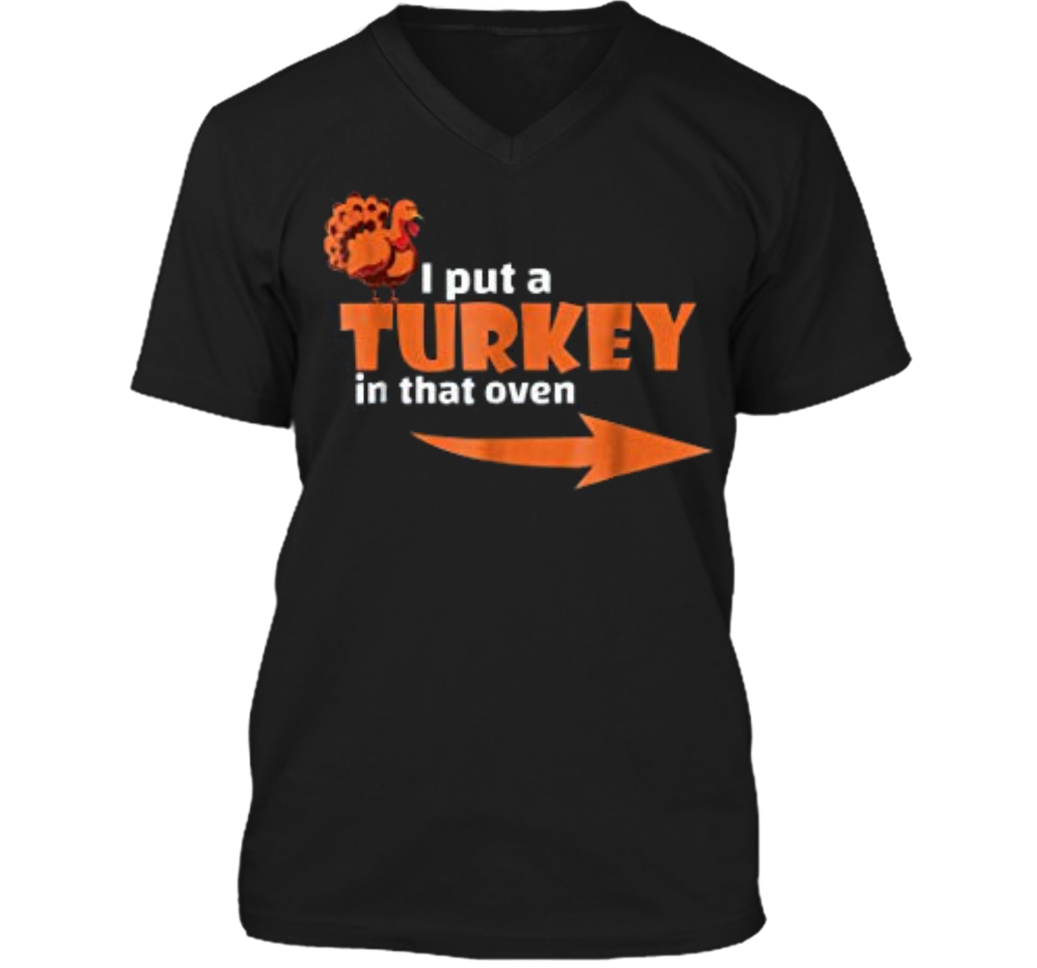 476929b3 Thanksgiving Turkey Expecting Dad Pregnant Wife Tee Mens Printed V-Neck T