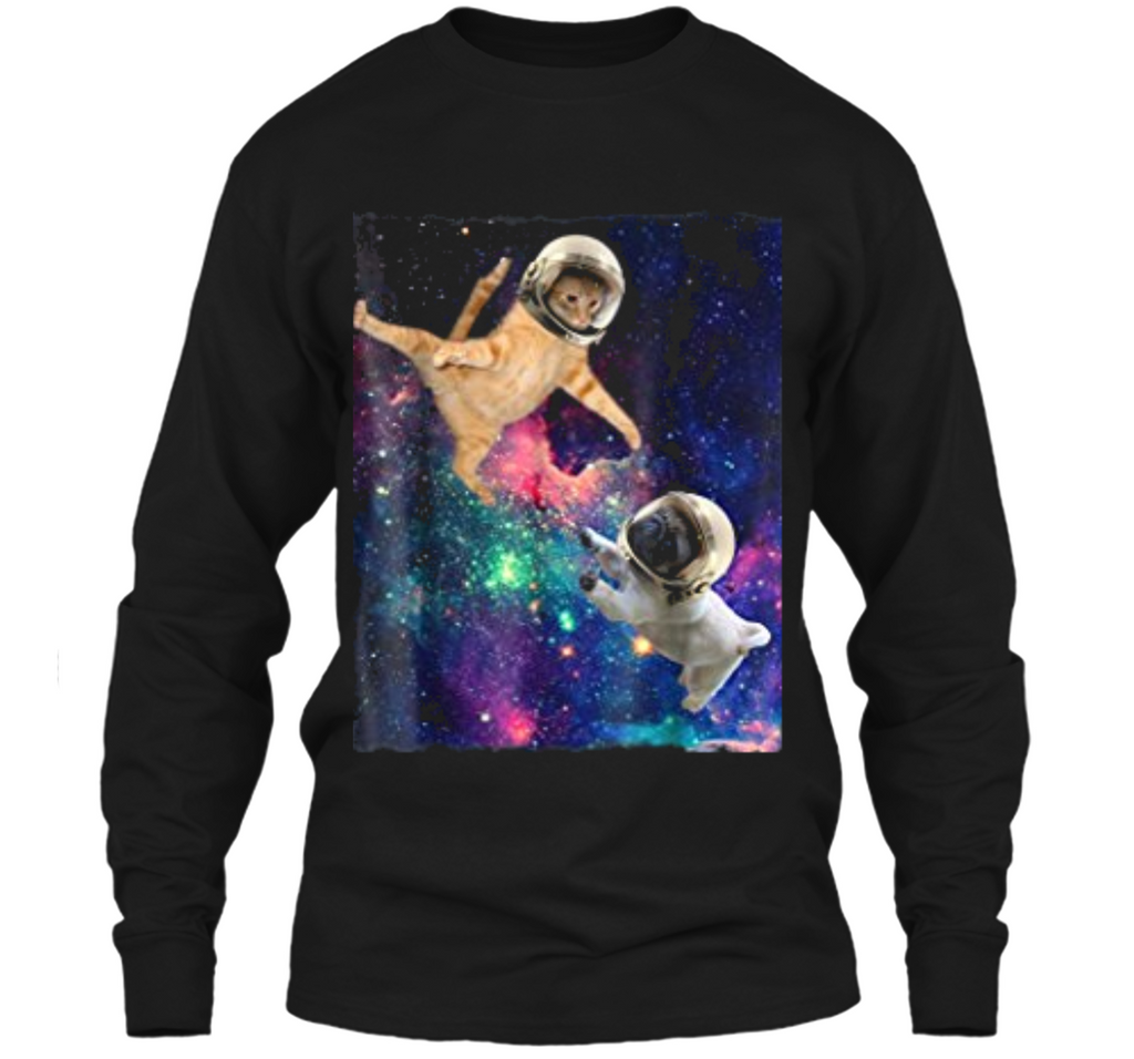 Cute Space Cat vs Pug  Galaxy Epic Fight In Outer Space LS Ultra Cotton Tshirt
