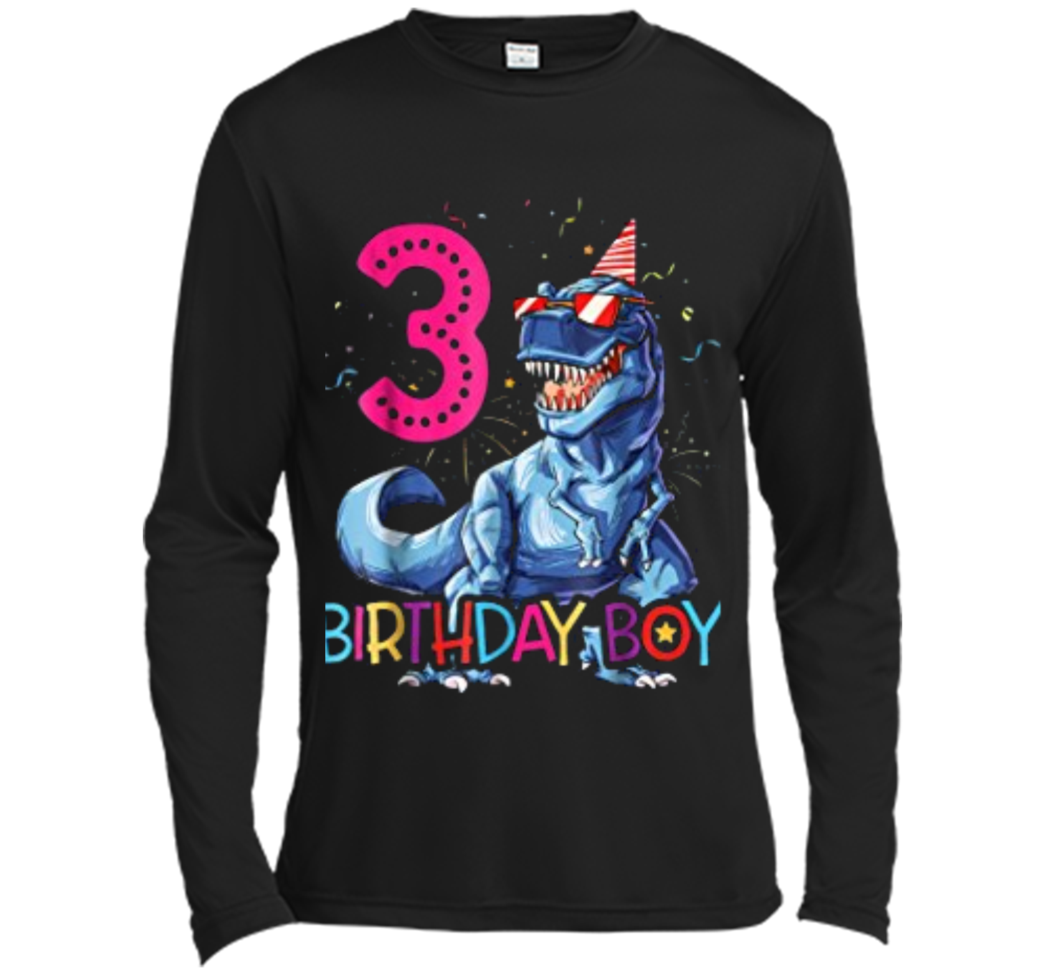 Dinosaur T Rex 3 Year Old Kids 3rd Birthday Long Sleeve Moisture Absorbing Shirt