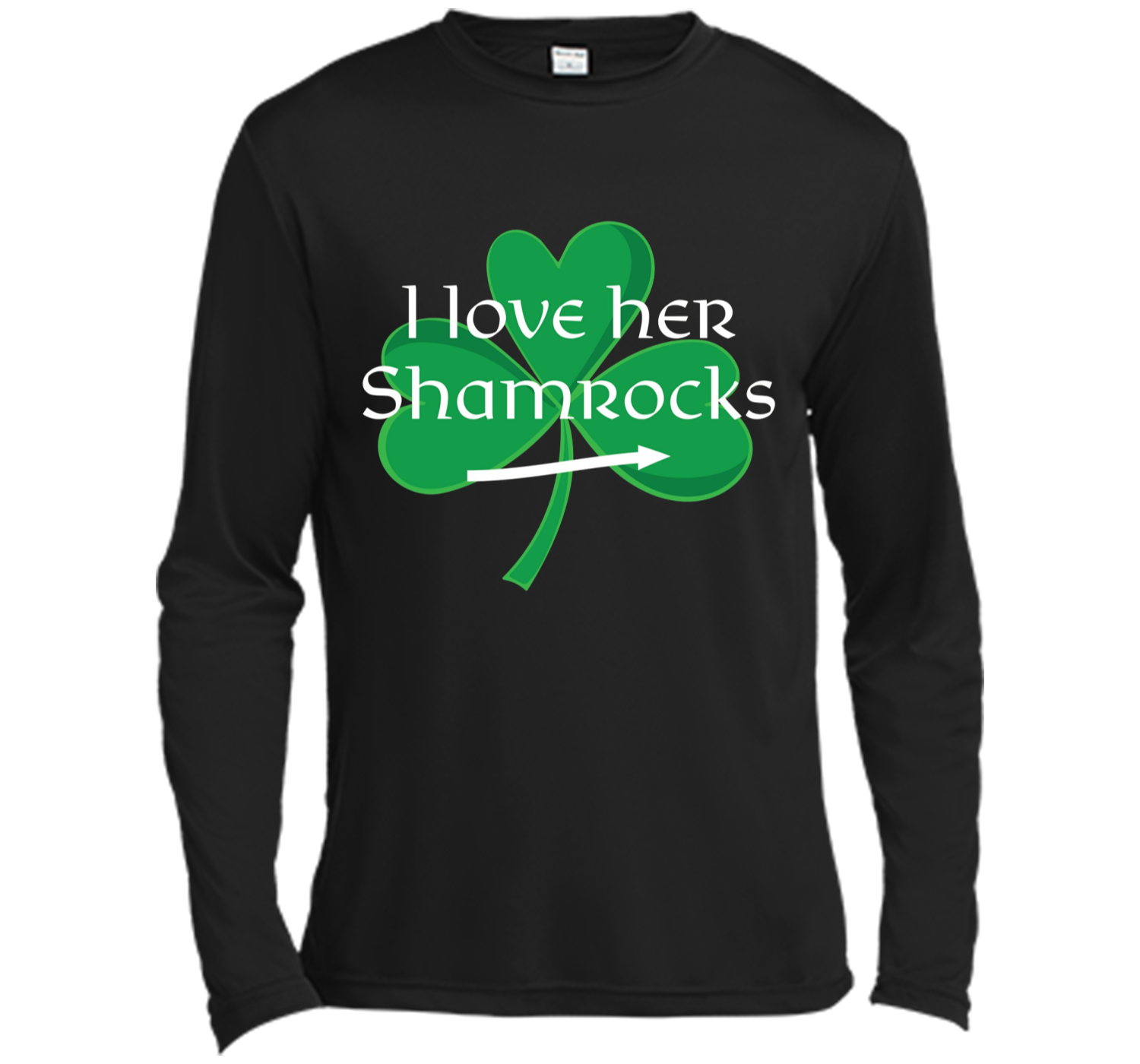 98422955 Funny Couples St. Patty's Day T-Shirt I Love Her Shamrocks Long ...