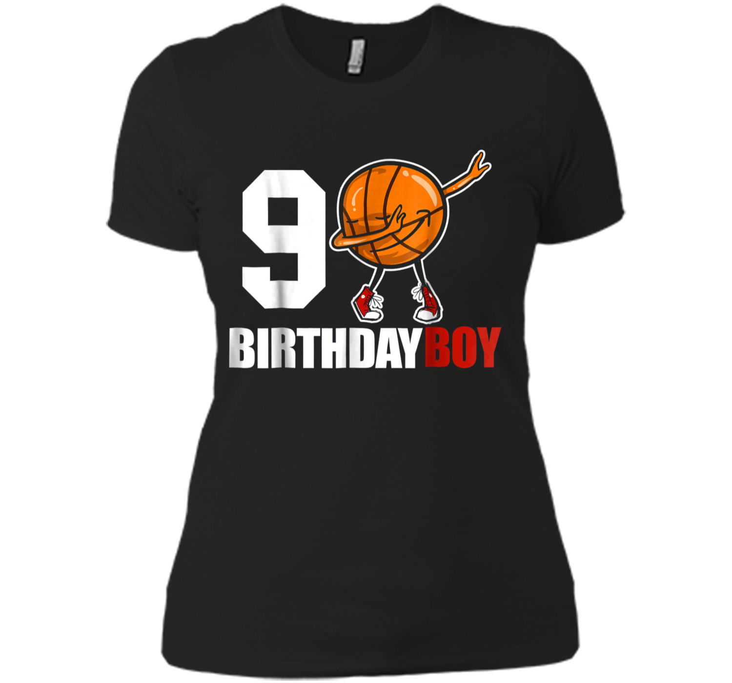 9 Year Old Birthday Dabbing Basketball 9th Gift Tee Next Level Ladies Boyfriend