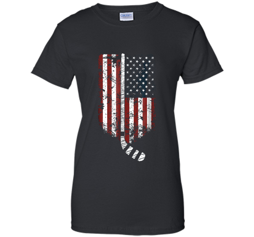 Hockey Goalie US America Flag Shirt Hockey Sticks Tee