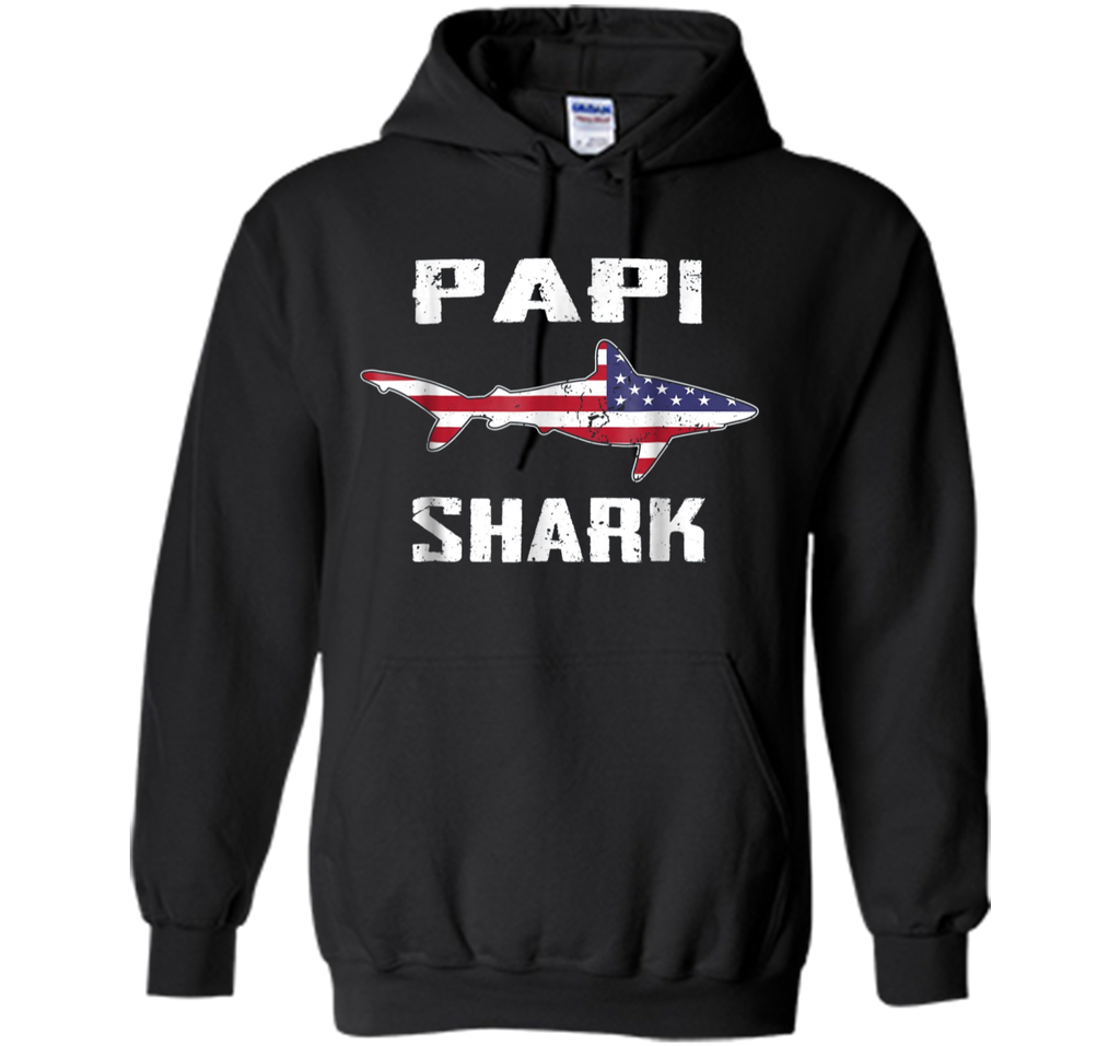Papi Shark TShirt Family American Flag Father's Day Gift Dad