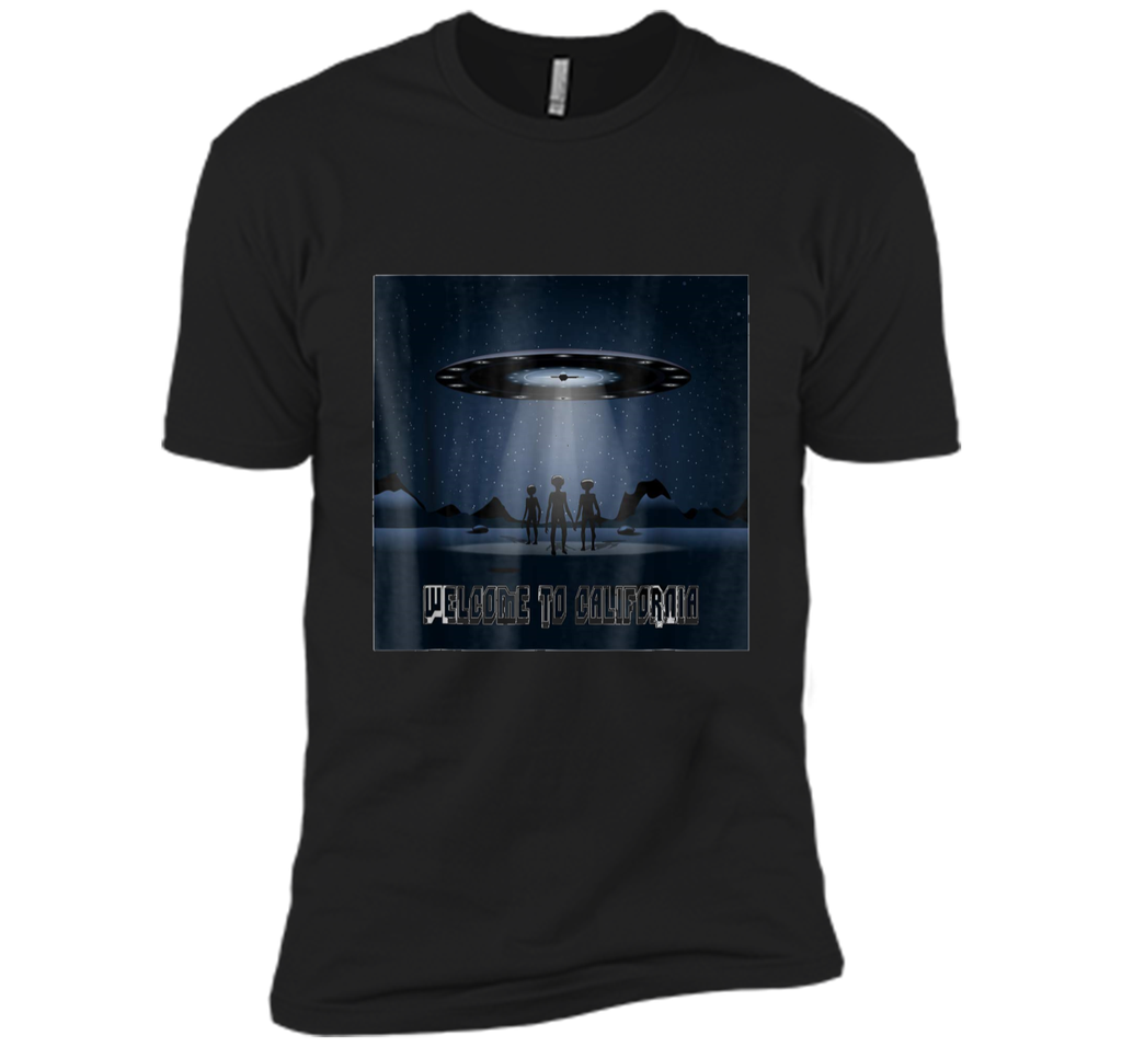 Funny UFO California  Gift Aliens Welcome 2 Cali Tee Next Level Premium Short Sleeve Tee