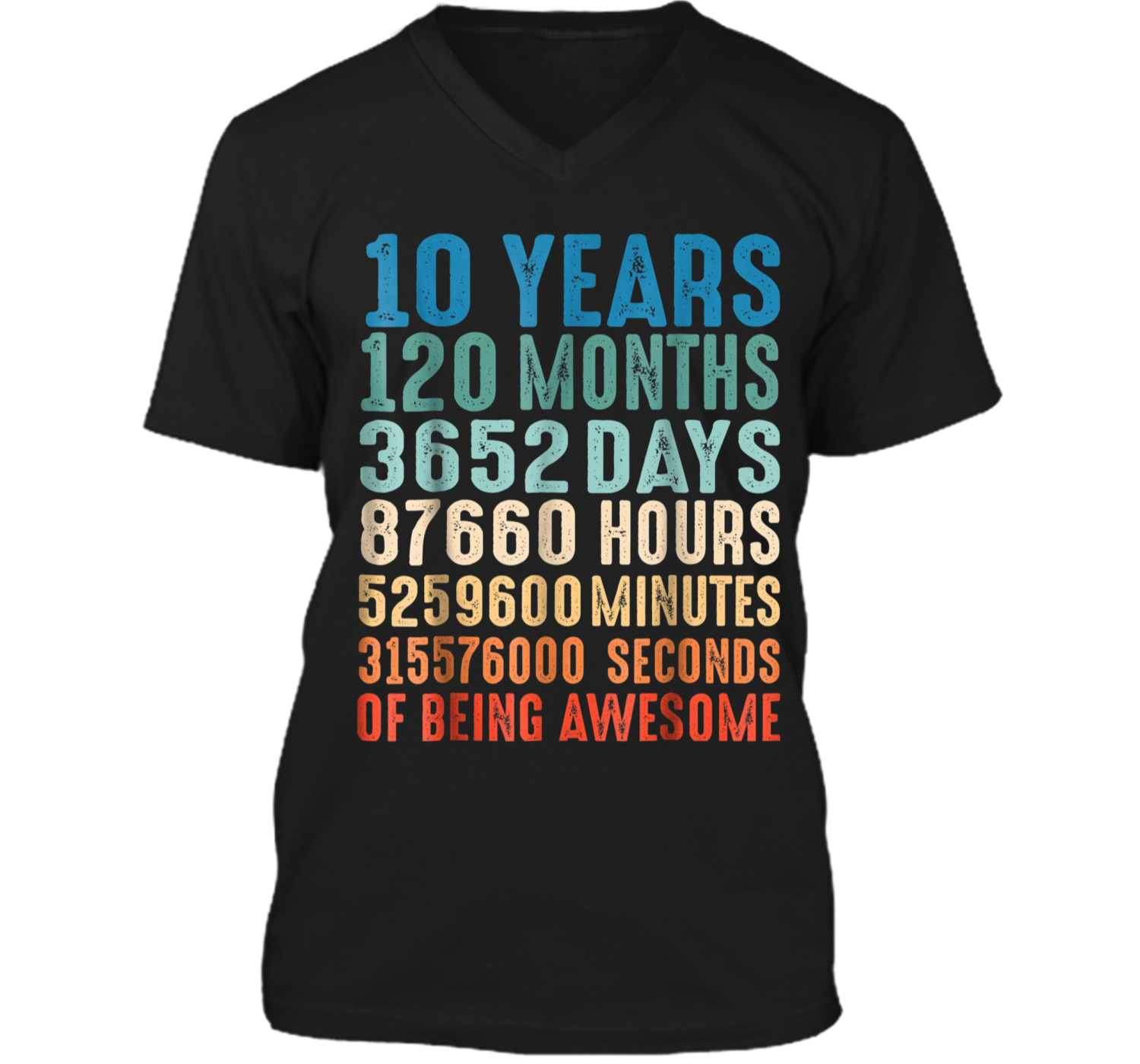 10 Years Old 10th Birthday Vintage Retro 120 Months Mens Printed V Neck T