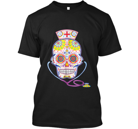 Nurse Sugar Skull Day Of The Dead Halloween Color  Custom Ultra Cotton