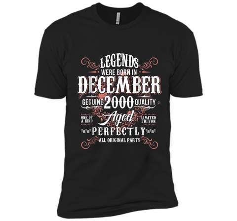 Vintage December 2000 18th Birthday Gifts  Next Level Premium Short Sleeve Tee