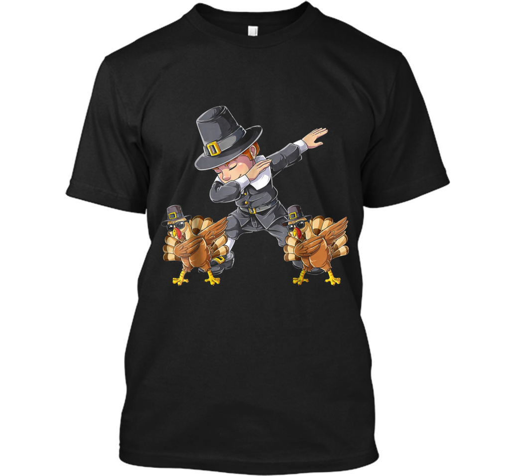 Thanksgiving  for Boys Dabbing Pilgrim Kids Turkey Dab Custom Ultra Cotton